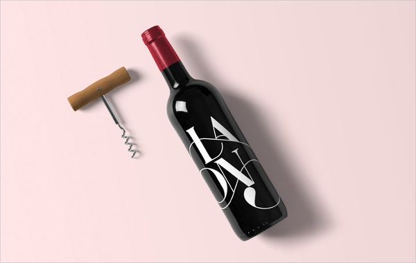 Easy Editable Wine Bottle Mockup
