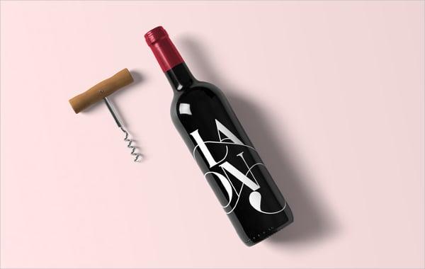 easy editable wine bottle mockup