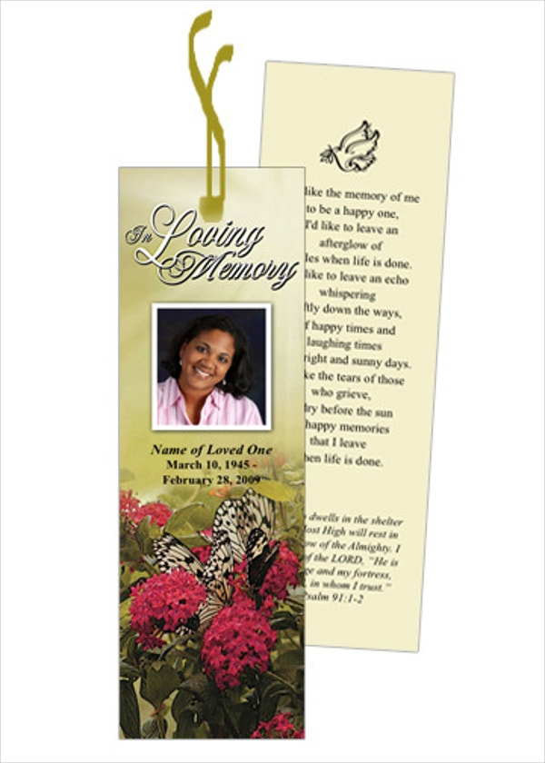 Bouquet Memorial Bookmark Template With Preprinted Title