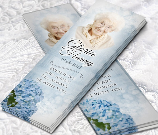 Memorial Bookmark for Women with Blue Hydrangea