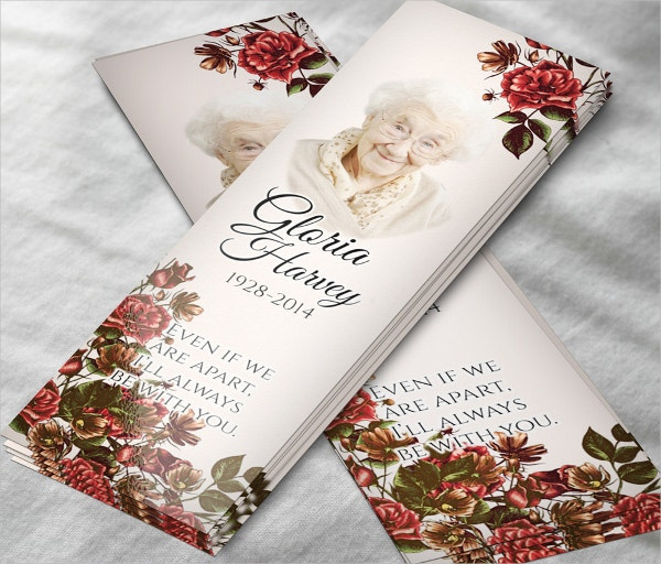 memorial bookmark for women with roses