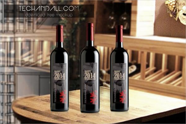 cool wine bottle mockup