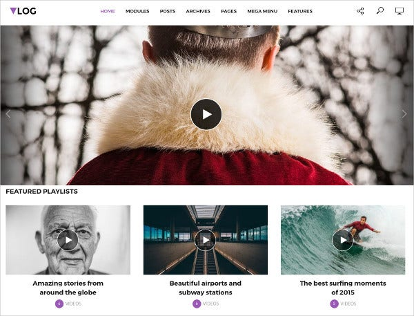 Professional & Personal WordPress Video Blog Theme $69