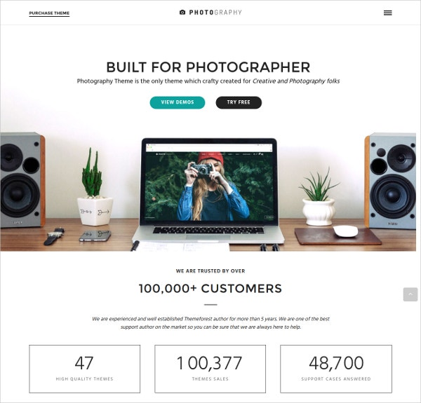 Multilingual Photography WordPress Theme $59