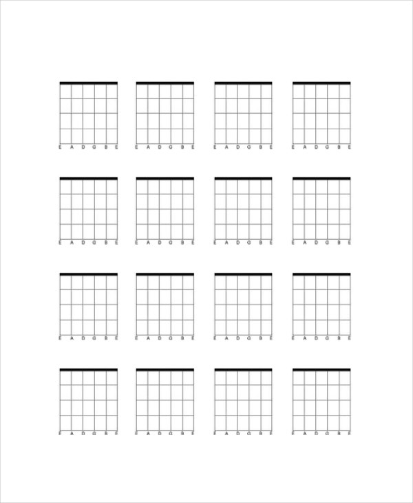 photograph about Printable Blank Guitar Chord Chart called Blank Guitar Chord Chart Template - 5+ No cost PDF Information