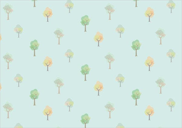 watercolor trees vector pattern
