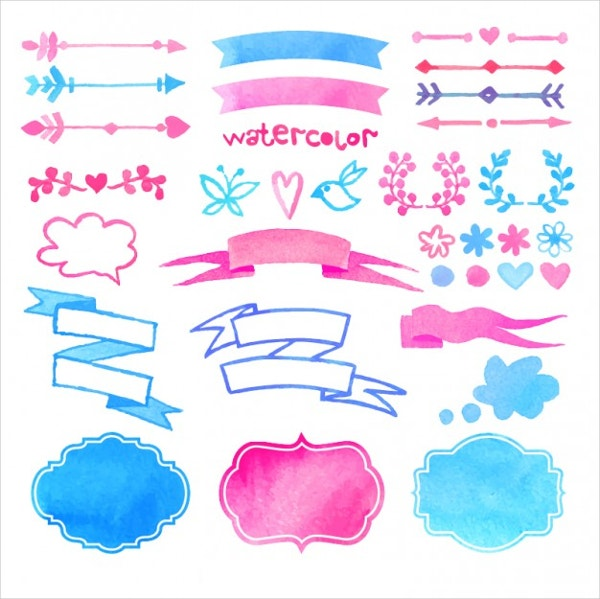 watercolor decorative elements