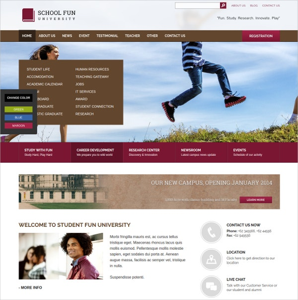 University & School WordPress Theme $49