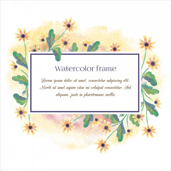watercolor floral frame with typography
