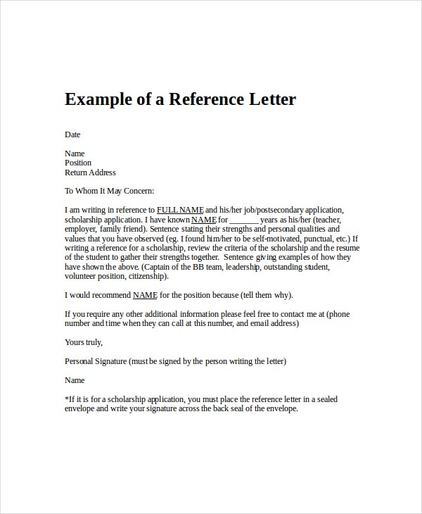 professional letter of reference of employment