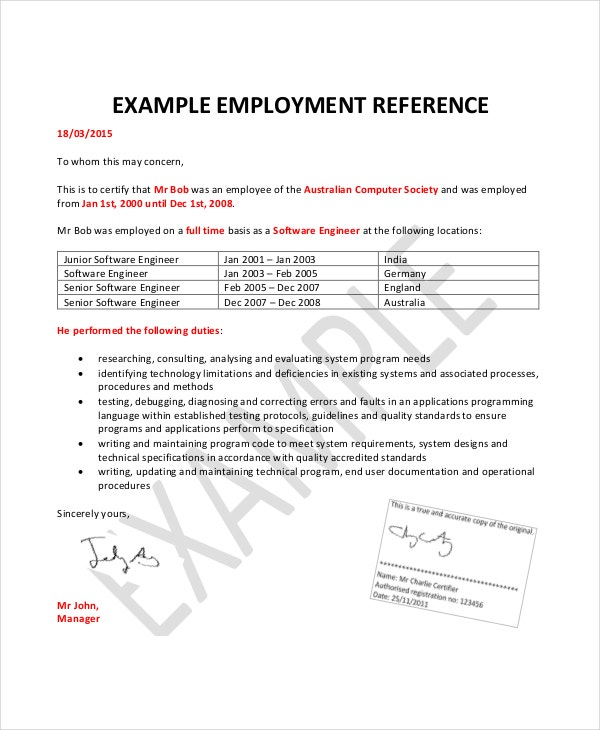 Employment Reference Letter 8 Free Word Excel PDF Documents – Sample Job Reference Letter