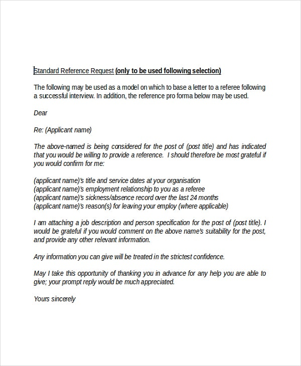 Beautiful Employment Standard Reference Request Letter Within Employment Letter Of Reference