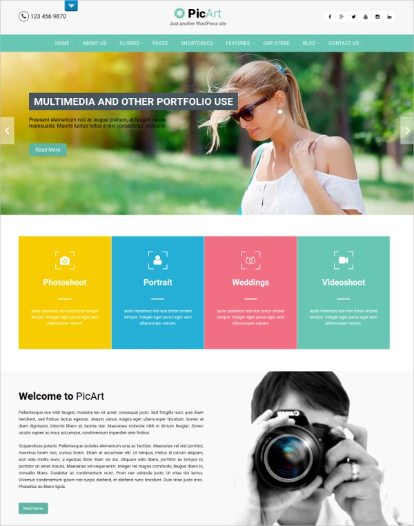 Photographer Multilingual WordPress Theme $39