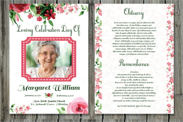 Obituary Funeral Program Card Template  Prayer Card Template Free