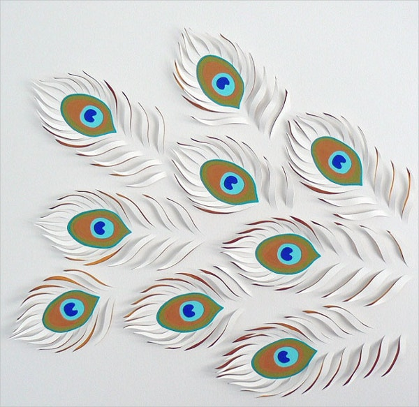 Peacock Feather Paper Art