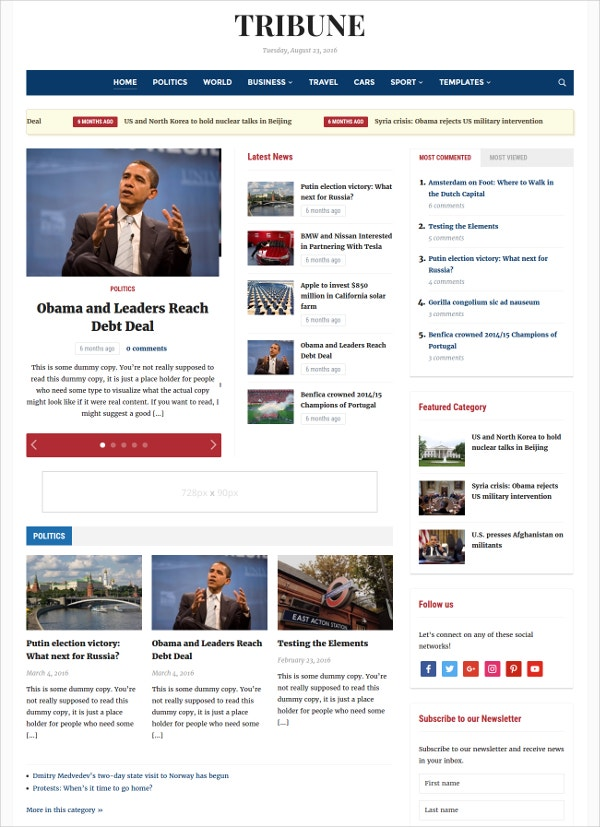 News Multilingual WordPress Theme $69