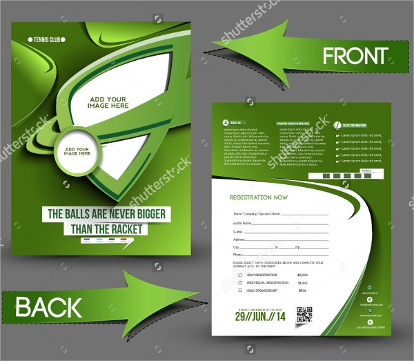 Tennis Competition Front & Back Flyer Template