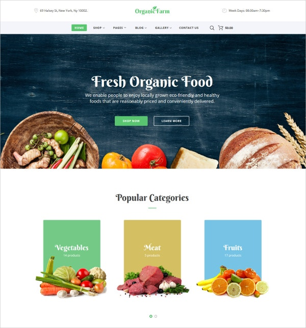 Organic Food HTML5 Website Template $75