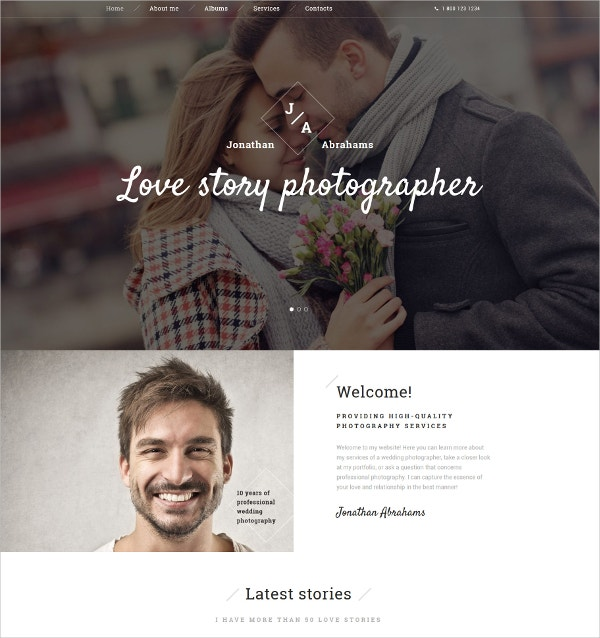 Photographer Portfolio HTML5 Website Template $75