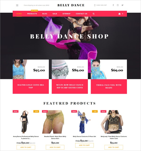 Belly Dance Shopify HTML5 Theme $90