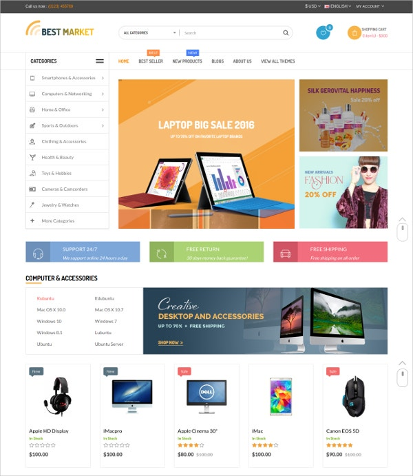 Multipurpose Electronic Shop HTML5 Theme $48