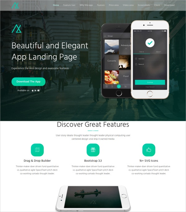 Awesome HML5 Landing Page Theme $44
