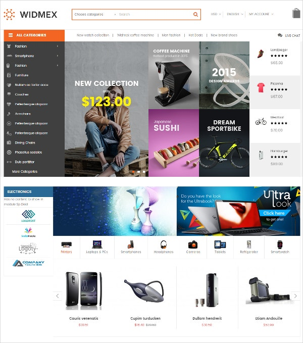 Multi-Purpose Premium eCommerce HTML5 Theme $70