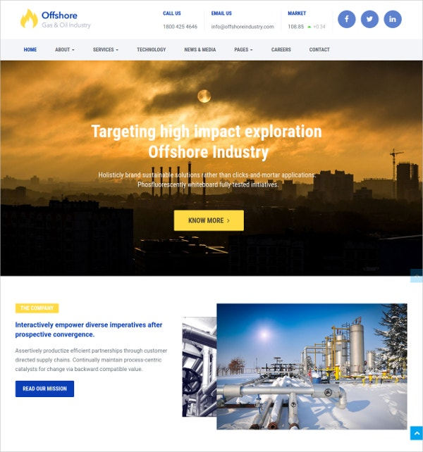Industrial Business Responsive HTML5 Theme $49