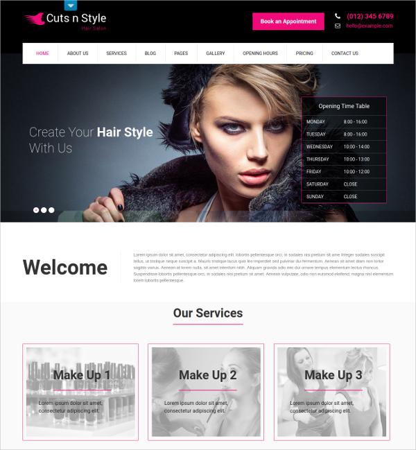 Hair Style Parlour HTML5 Theme $48