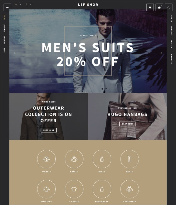 Men's Clothes Collection eCommerce Theme $139