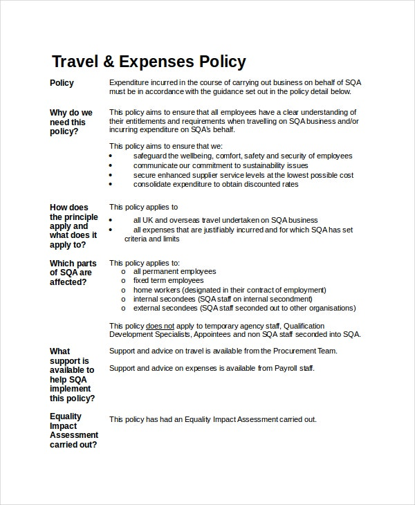 Travel policy template 7 free word pdf document downloads free travel expense policy fbccfo Gallery