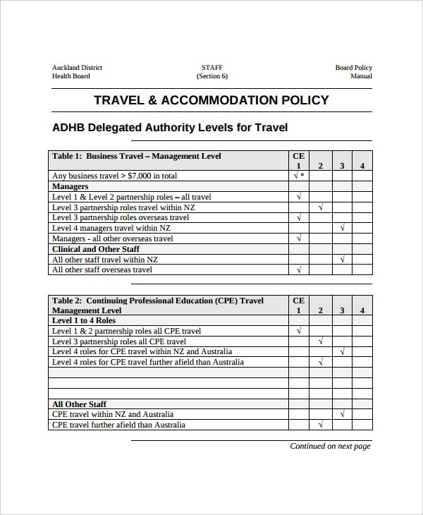 Travel Accommodation Policy Template