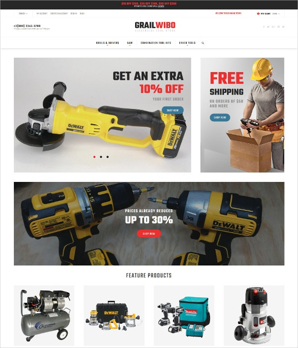 Electrical Tools Store eCommerce Theme $179