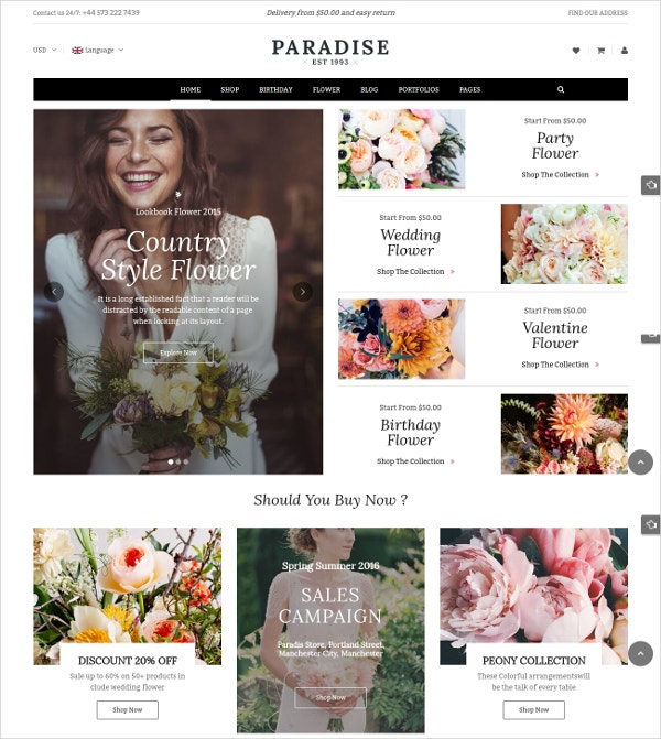 Responsive Bouquet eCommerce WP Theme $59