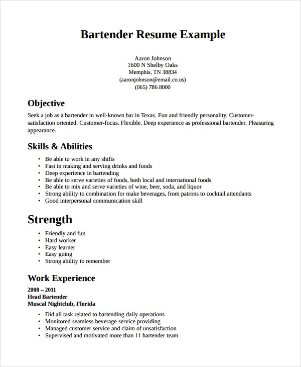 professional bartender resume - Sample Bartending Resume