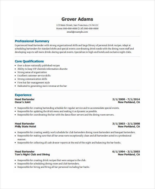 head bartender resume - Sample Bartending Resume
