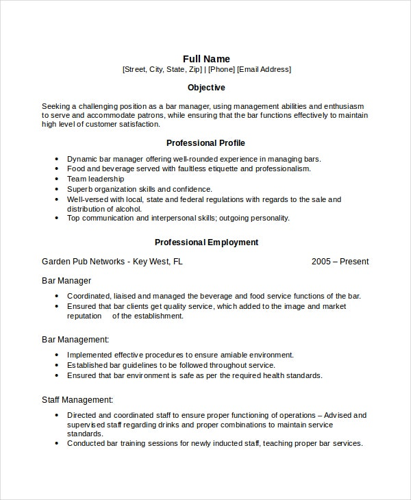 bartender manager resume