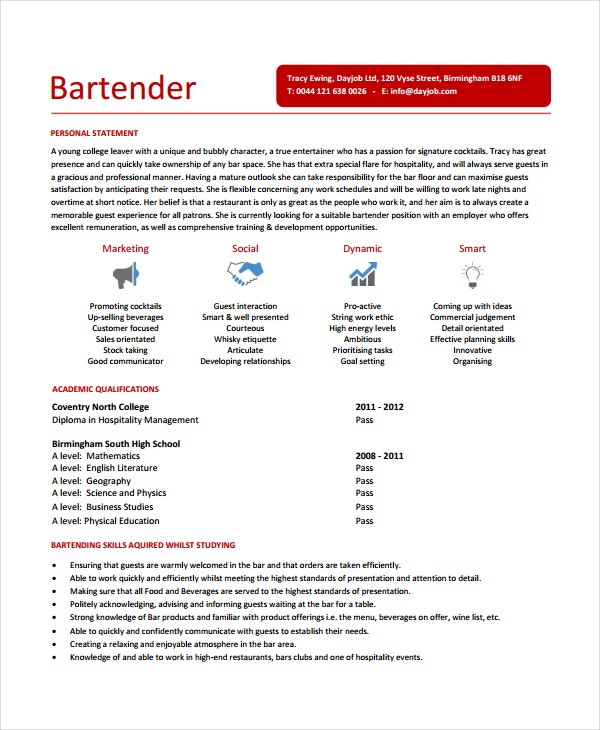Entry Level Bartender Resume
