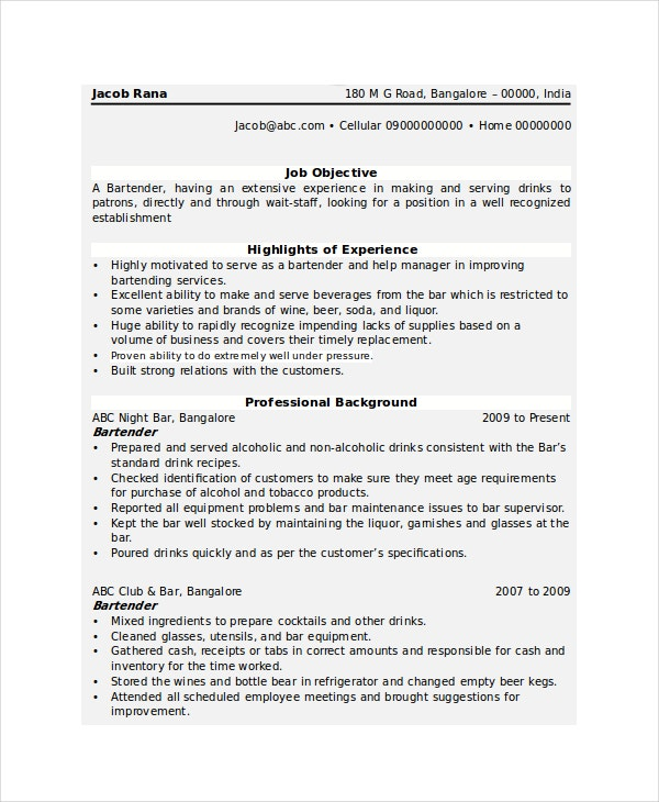 Bartender Resume Template   Free Word Pdf Document Downloads