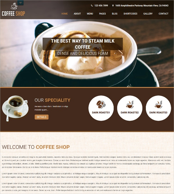 Coffee Shop Cafe eCommerce WordPress Theme $48
