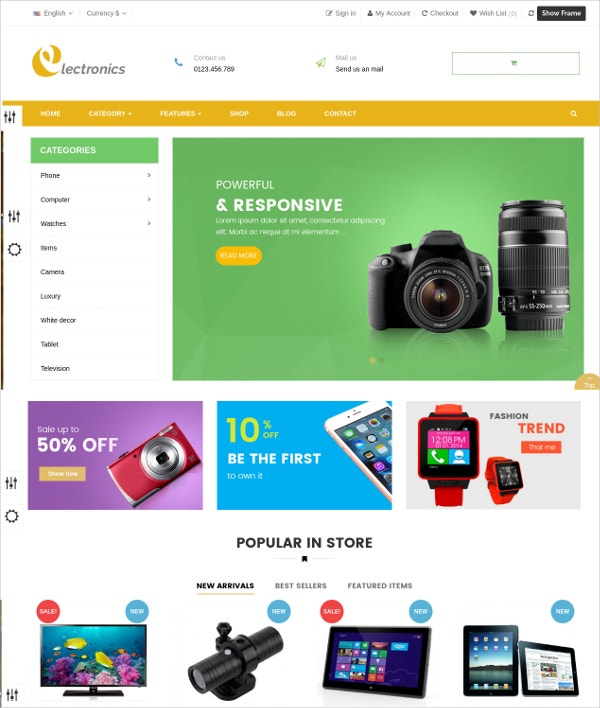 Online Electronic eCommerce Prestashop Theme $69