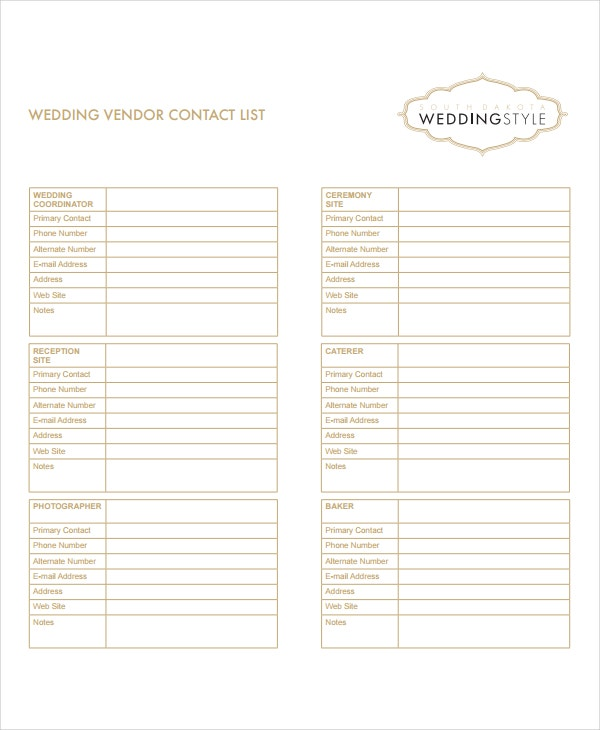 Vendor List Template 8 Free Word Excel PDF Document Downloads – Contact List Templates