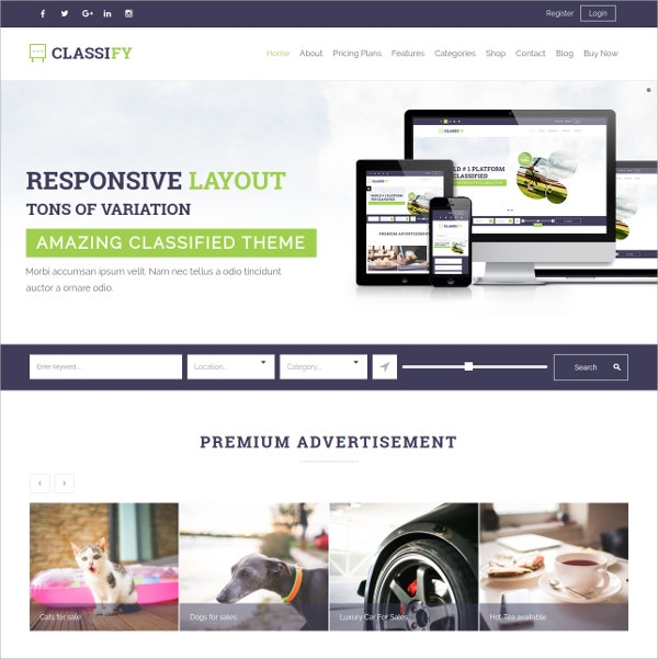 Business Classified WordPress Theme $59