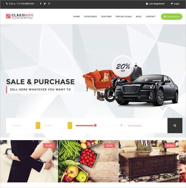 Corporate Classified WordPress Theme $49