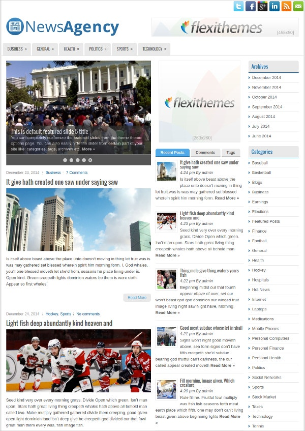 News Agency WordPress Theme