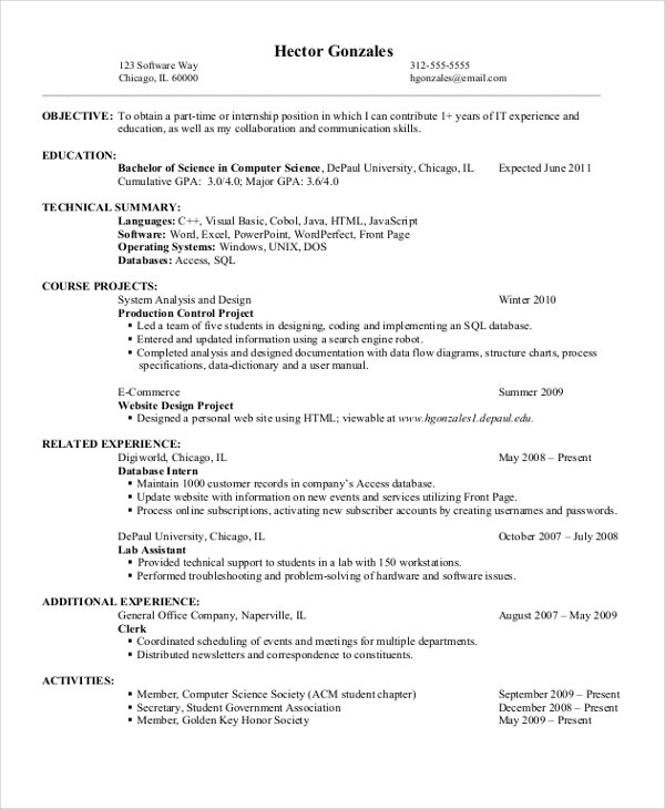 entry level computer science resume - Data Science Internship Resume