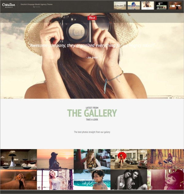 Single Page Model Agency Theme