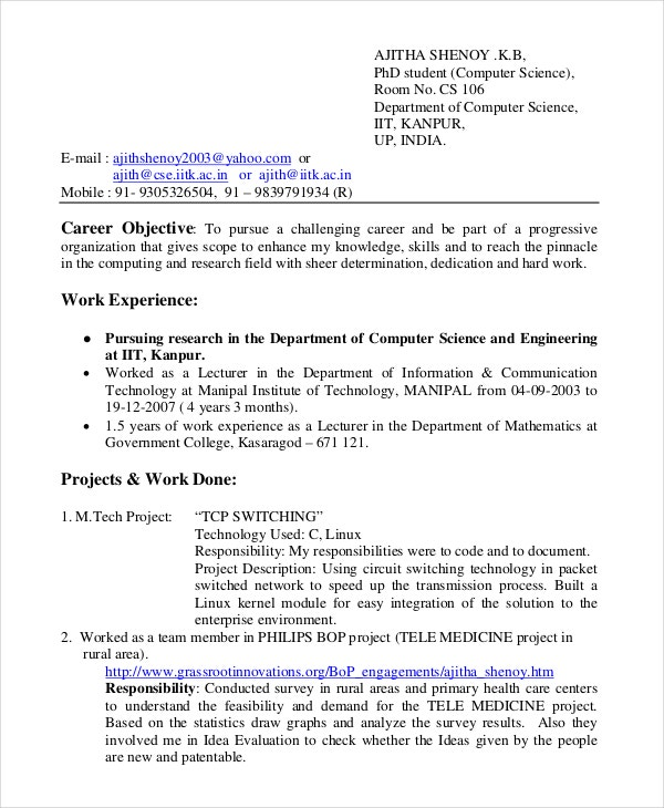 bsc computer science resume - Bsc Computer Science Resume Doc