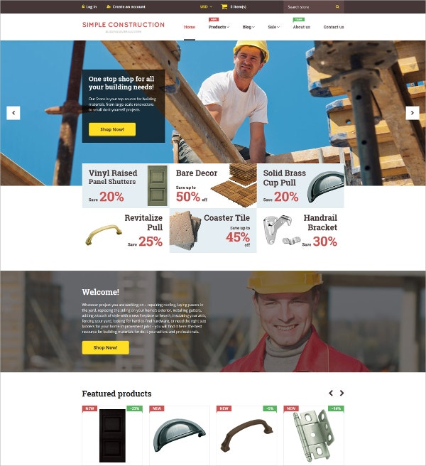 Simple Building Construction Website Theme $139