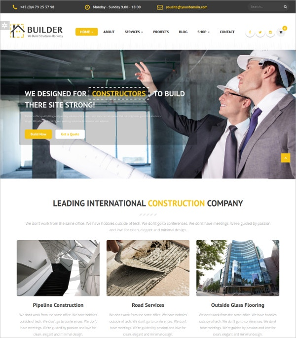 Business Responsive Construction Drupal Theme $48